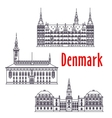 Symbolic travel sights of Denmark thin line icon vector image