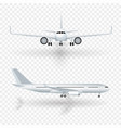 white airplane with shadow icon set on checkered vector image