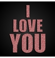 I Love You Valentine Day Red Sequins vector image