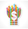 Dollar symbol on colorful arrow bulb vector image