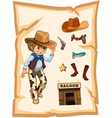 A special paper with an image of a cowboy vector image vector image