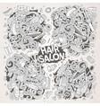 cartoon set of doodle hair salon designs vector image