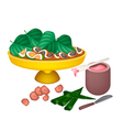 Ripe Areca Nuts and Betel Leaves on A Tray vector image vector image