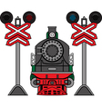 Locomotive and semaphores vector image vector image
