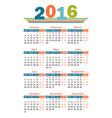 2016 year calendar english vector image
