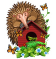 Hedghog over the birdhouse vector image