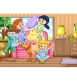 Girls playing pillow fight at slumber party vector image