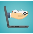 Hand holding car from screen of notebook vector image vector image