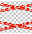 big sale red banners set of warning tapes vector image