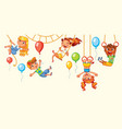 children have fun on the rides playground vector image