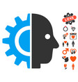 cyborg head icon with valentine bonus vector image