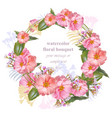 watercolor floral round wreath frame card vintage vector image