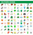 100 park icons set cartoon style vector image