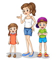 A girl and her siblings vector image vector image