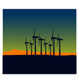 windmill silhouettes on sunset landscape vector image vector image