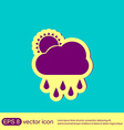 weather icon sun behind the cloud with rain vector image