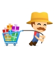 Man pulling shopping cart vector image vector image
