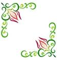 Doodle color abstract flower corner frame vector image