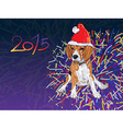 Beagle wear christmas hat with fireworks vector image