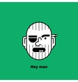 Character design unshaven angry man avatar vector image
