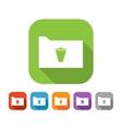 Color set of flat folder with trash bin vector image
