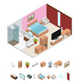 interior hotel room isometric view vector image