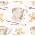 Outline coffee cup with vanilla seamless vector image