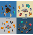 Metalworking 4 Isometric Icons Square Poster vector image