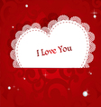 Laced applique Valentine card I love you vector image
