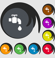 faucet icon sign Symbols on eight colored buttons vector image