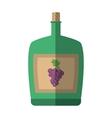 green big wine bottle liquid drink grape cork vector image