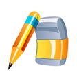 icon pencil and eraser vector image vector image