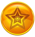 Gold button with star vector image vector image