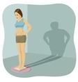 Young woman standing on bathroom scale vector image