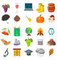 autumn school icon set cartoon and flat style vector image