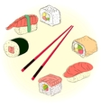 Colored sketchy sushi set vector image