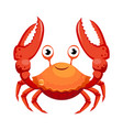 red crab sea creature colorful cartoon character vector image
