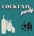 Retro teal Coctail party invitation card vector image