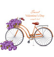 valentines day card with bicycle and flowers vector image