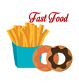 fries donuts fast food design isolated vector image