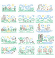 nature color line landscapes set with mountains vector image vector image