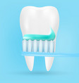 realistic tooth and toothbrush poster stomatology vector image