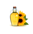 Bottle of sunflower oil with flower vector image