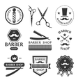 Barber shop logo labels badges vintage vector image
