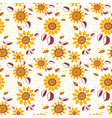 decorative sunflowers with bees seamless pattern vector image