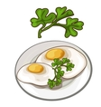 Delicious fried eggs on plate with parsley vector image