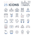 Set Flat Line Icons Paris vector image