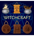 Witchcraft old mystic symbols vector image