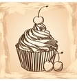 Cupcake with cherries on a beige background vector image