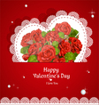 Laced with red roses applique Valentine card vector image
